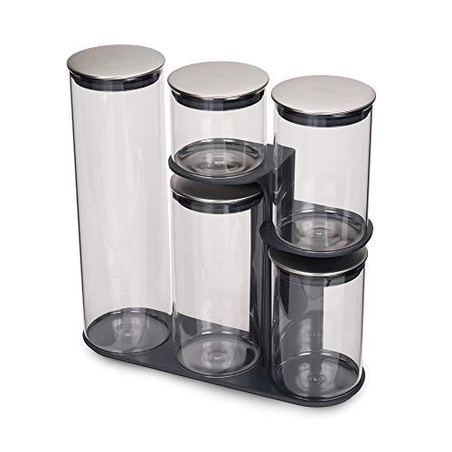 Joseph Joseph Podium 100 - 5-teiliges Aufbewahrungsgestell für Vorratsdosen, Glas - grau