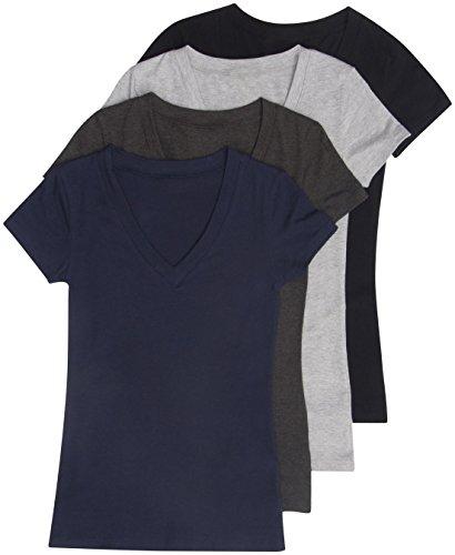 4 Pack Zenana Women's Basic V-Neck T-Shirt Large Black, Charcoal, H Gray, Navy