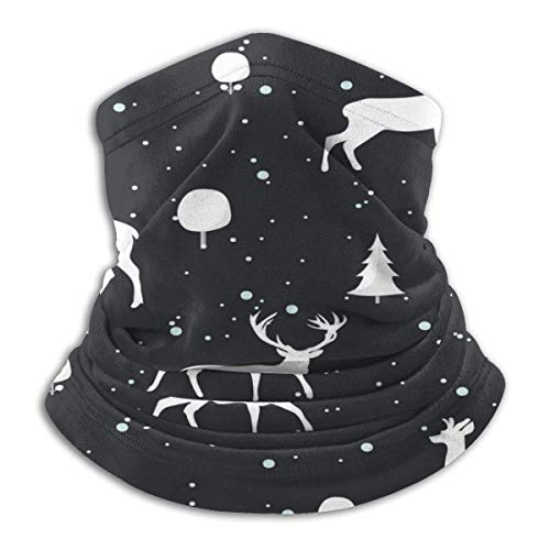 Nifdhkw Weihnachtsmuster Hirsch und Kaninchenhals Gamasche Wärmer Unisex Skihals Kopfbedeckung für Frauen Männer im Freien