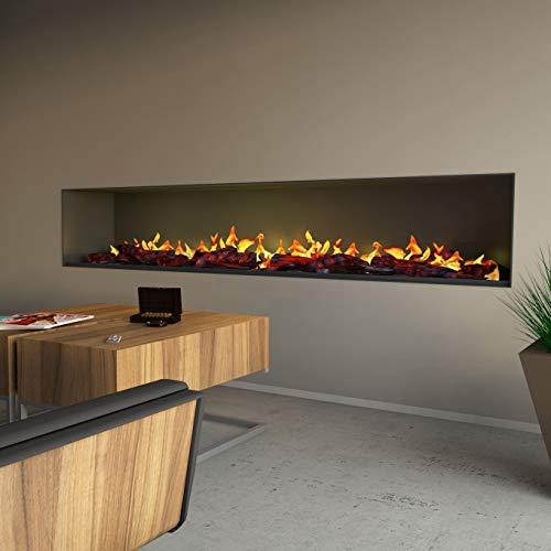 muenkel design Wall fire Electronic PRO - Opti-Myst Elektro-Kamin Wandeinbau inkl. Dekoholz – ohneHeizung – externer Wasseranschluß - Breite 800 mm