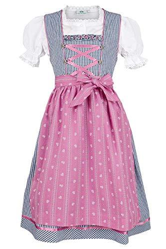 Isar-Trachten Mädchen Kinderdirndl Marine pink mit Bluse, Marine, 80