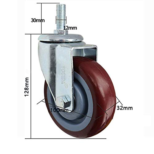 M12-30mm Draad Zwaarlast zwenkwielen met rem 300kg Silent Rubber industriële trasport zwenkwielen Zwenkwielen universele wielen Voor meubelwagen werkbank