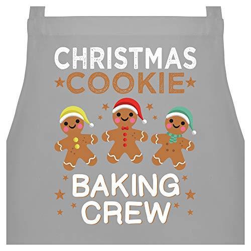 Shirtracer Schürze mit Motiv - Christmas Cookie Baking Crew - 3 Kekse - 60 x 87 cm (B x H) - Hellgrau - schürze baking - PW102 - Kochschürze für Männer und Damen