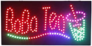 LED Boba Tea Open Light Sign Super Bright Electric Advertising Display Board for Juice Bar Bubble Tea Smoothie Coffee Cafe Business Shop Store Window Bedroom Decor 24 x 12 inches