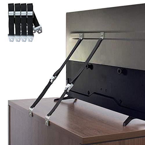HZONE TV- und Möbel-Gurte, 4 Stück, Babysicherung, Anti-Kipp-Möbelgurt-Set, Schrankwandanker, Sicherheits-Metallriemen für Kinderschutz, verstellbarer Erdbebenschutz Gurt, Tragkraft 100 kg