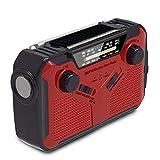 Mpencent Radio de Tiempo de manivela Solar de Emergencia Radio de Tiempo Am/FM/NOAA, Radio de Supervivencia de huracán portátil con Linterna LED, lámpara de Lectura,Rojo