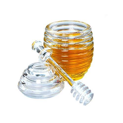 LINGREAL Tarro de Miel con cucharón, Colmena de Cristal Transparente Recipiente de Miel en Maceta, Tapa de agitador acrílico y Bote/LFGB en Bote - 265 ML