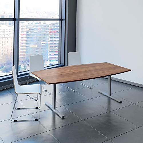 Weber Büroleben GmbH Easy Konferenztisch Bootsform 200x100 cm Nussbaum Besprechungstisch Tisch, Gestellfarbe:Silber