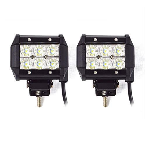 Luces de trabajo para barra de luz de 18W, luces de carretera Luz de conducción a prueba de agua/de inundación IP67 para ATV UTV SUV Boat 2pcs Luces LED para Coche