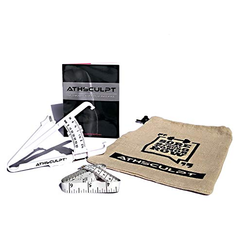 ATHSCULPT SKINFOLD Body Fat Calipers Set. Includes Athsculpt Double Scale Body Fat Calipers, Body Measuring Tape, Manual (How to Measure Your Body Fat Percentage) and Gym Bag.