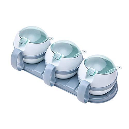 Abnehmbar und leicht mit Deckel Würzen b reinigen 3 Stück Gewürz Box Transparent Würzen Box Würzen Vorratsbehälter for Gewürz Salz Zucker Menage Menage Gläser mit Löffeln ( Color : Blue )