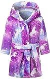Girls' Fleece Robe, Soft Comfy Warm Plush Flannel Bathrobe Hooded Sleepwear Bath Robe for Girls, Purple, US 9-10 Years, CN 150