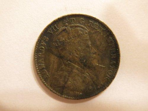 1910 Canada 5 cent 5c silver coin – King Edward VII