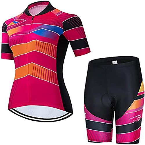 Conjunto de Maillot de Ciclismo para Mujer, Mujer Manga Corta Maillot De Ciclismo Camiseta De Ciclismo Secado Rápido Transpirable Camiseta para Bicicleta De Montaña Pantalones Cortos Acolchados En 3D