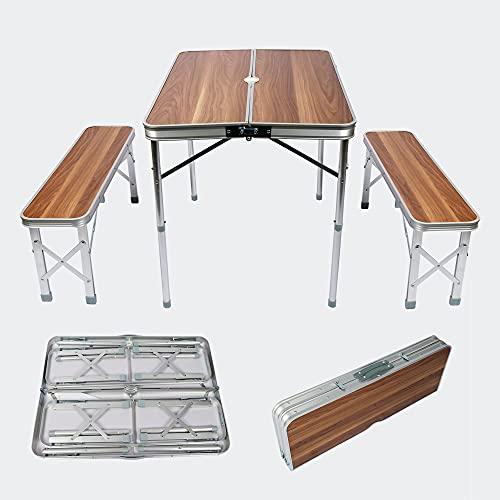 Wiltec Aluminium Koffertisch mit Zwei Bänken Holzdesign 90x66x70 cm klappbar Campingtisch Sitzgruppe