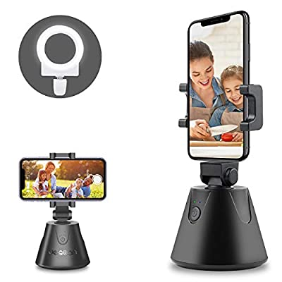 Face Tracking Phone Holder, 360 ° Rotation Auto Tracking Tripod with Selfie Ring Light, Camera Mount for Tiktok Live YouTube Video Facetime by JESBAN