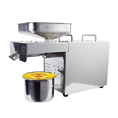 HUKOER Máquina de prensa de aceite 500W Extractor de aceite automático frío/caliente Expeller de aceite orgánico Comercial/Hogar Máquina de prensa de aceite de acero inoxidable