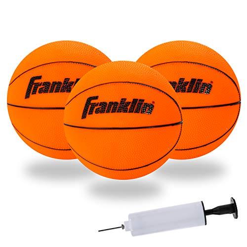 Franklin Sports Mini bolas de basquete para ambientes internos – Pacote com 3 – Aprovada pela Slam Dunk – Bolas de basquete de substituição para sala de jogos – Bomba incluída
