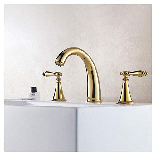 Lingling Antique Gold Waschtischarmaturen Handwäsche Heißes und kaltes Kupfer DREI-Loch Split Wasserhahn Vergoldete Waschtischarmatur, Gold-16,5 * 15,5 * 8cm