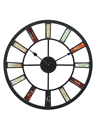 Artinest Stylish and Latest Metal Wall Clock for Living Hall Dining and Bedroom   Roman Modern Home Office Clock   Large Decorative Sculpture Art (46 X 46 X 5 cm, Black)