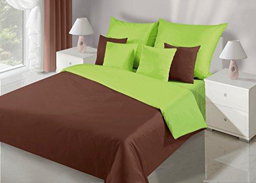 DecoKing 200x220 braun grün Bettwäsche Bettwäscheset mit 2 Kissenbezügen 80x80 Bettbezüge Baumwolle Bettwäschegarnituren 3 TLG. zweiseitig