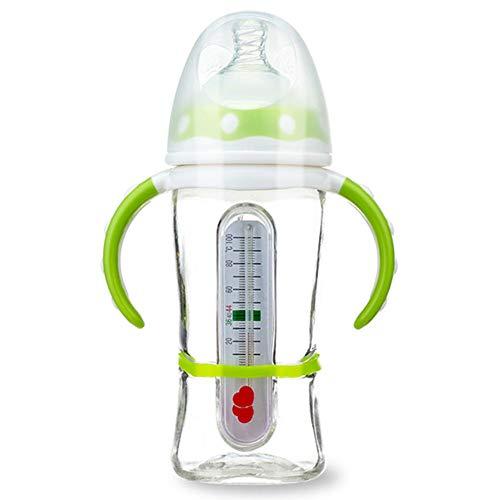 Biberón Ancho Calibre Pezón De Silicona Con Termometro Botella De Vidrio Recién Nacidas Anti-flatulencia Anti Caída,Green-240ml