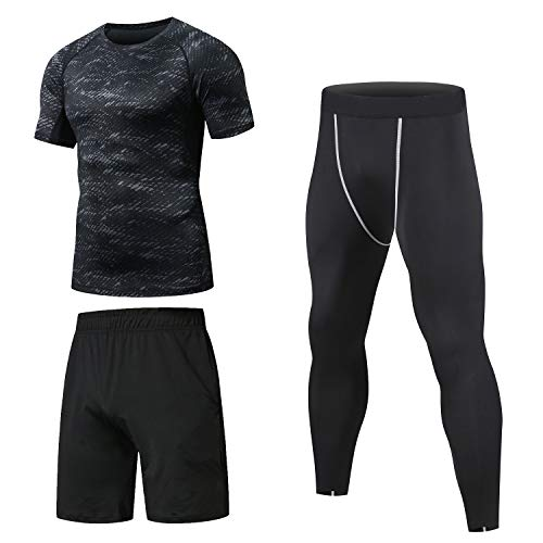 Niksa Ensemble Compression Homme Tenue Sport Fitness Vêtement Running Tee Shirt Compression Legging Sport Short Running Noir M