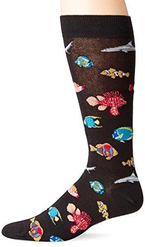 K. Bell Men's Water World Novelty Socks, Tropical Fish (Black), Shoe Size: 6-12