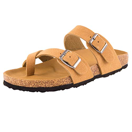 UBXRIN Women's Slides Sandals Waterproof Leahter Footbed $12.49 (50% Off with code)