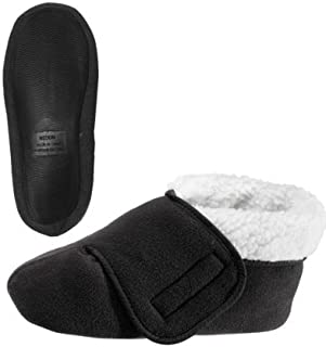 Silvert's Adaptive Clothing & Footwear Womens/Mens Slip Resistant Bootie Slipper with Adjustable (2XL, Black)