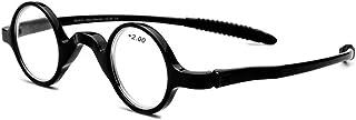 Mode retro klassieke ronde frame leesbril, ultralichte hars ronde frame presbyope leesbril voor heren,Black,+1.50