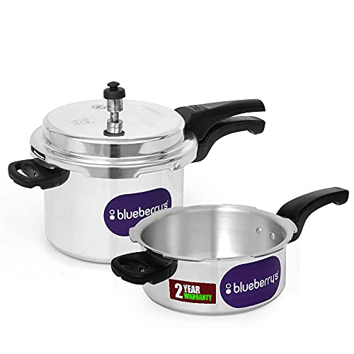 Blueberry's 2 in 1 Aluminum Pressure Cooker 5L + 3L Single Lid, ISI certified Induction Base & Gas stove Compactable, Made In INDIA (Silver) - BPC 53 SL