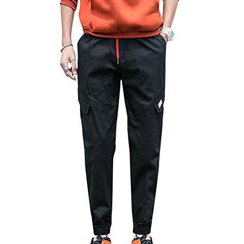 GUOCU Pantalones Hombre Casuales Deporte Joggers Largos Pants con Bolsillos y Cordón Cargo Trouser