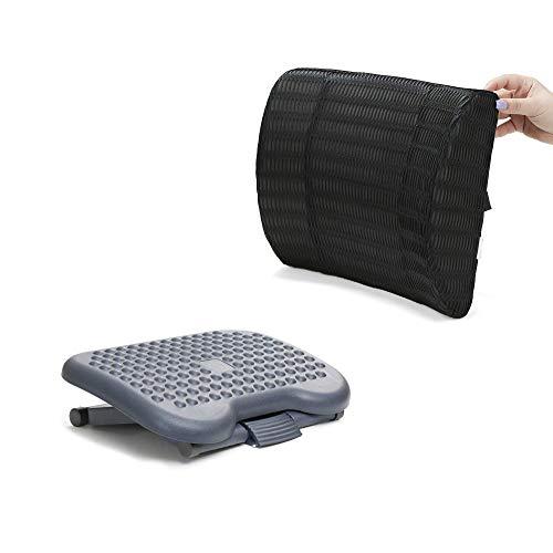 Mind Reader Rest, Ergonomic Foot, Pressure Relief for Comfort, Back, and Body, Foam, Black