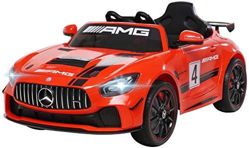 Kinder Elektroauto Mercedes Benz Amg GT4 Sport Edition - Lizenziert - 2,4 Ghz Fernbedienung - Softstart - Elektro Auto für Kinder ab 3 Jahre (Rot)
