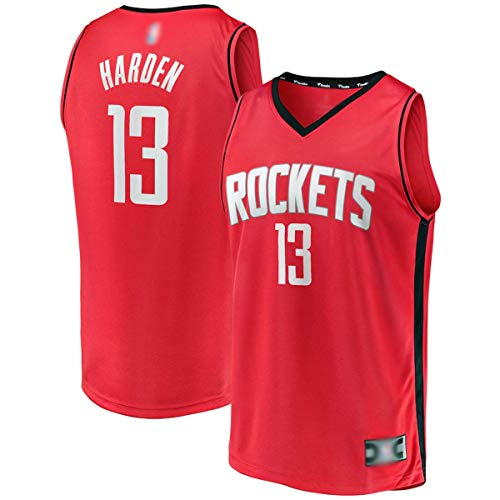 Personalizado Baloncesto Entrenamiento Jerseys James Houston NO.13 Rojo, cohetes Harden 2020/21 Fast Break Player Jersey Transpirable Casual Camisetas Para Hombres - Edición Icono