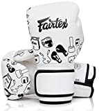 Fairtex Microfibre Boxing Gloves Muay Thai Boxing - BGV14, BGV1 Limited Edition, BGV12, BGV11, BGV18 (White Graffiti, 12 oz)