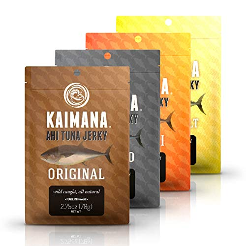 Kaimana Jerky Ahi Tuna 4 Pack Variety Bundle - All Natural & Wild Caught Tuna Jerky. Made in USA. 18g Protein & Good Source Of Omega-3s