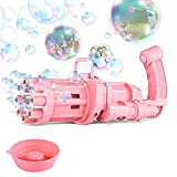 MOANBLI Gatling Bubble Machine Bubble Gun 2021 Summer Cool Toys Gift, Eight Hole Huge Amount Bubble Maker, Outdoor Activities Toys for Boys and Girls (Pink)