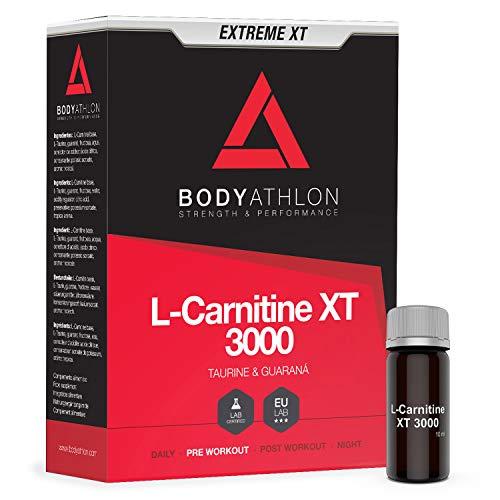 Bodyathlon L-Carnitine Liquide 3000 Extreme XT - Avec Taurine et Guaraná - Pre-Workout Booster - Bruleur de Graisses Extra Fort - 20 Flacons Saveur Tropicale