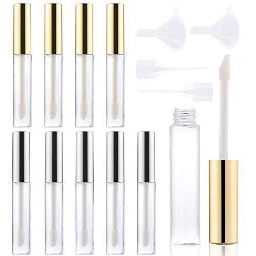 10 Stück 5ML Leere Lip Gloss Balm Tube, Nachfüllbare Mini Lipgloss Flasche Set mit mit Mini-Trichter und Mini-Strohhalm, Leer Lippenstift Rohre Lip Balm Tube für Lipgloss, Lippenbalsam