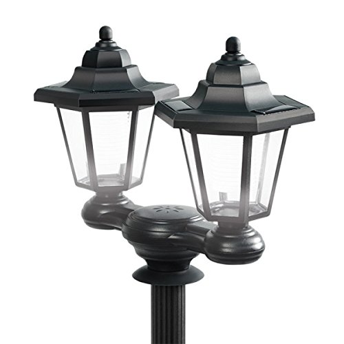 Ideaworks 3 en 1 Solar LED Lámpara Pole 1,5 m de alto al aire libre alimentado negro jardín poste luz Bollard Super brillante Medidor Victorian Patio Path Lighting