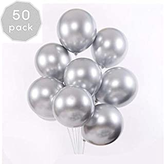 EKKONG 50PCS Metallic Ballons,Party Balloons,12 Inch Shiny Balloons Metal Party Latex Balloons for Birthday Wedding Baby Christmas Decorations (50 Pieces, Silver) (Silver)