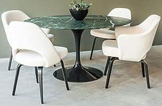 Tulip Table ronde marbre vert alpi 120 cm base noire