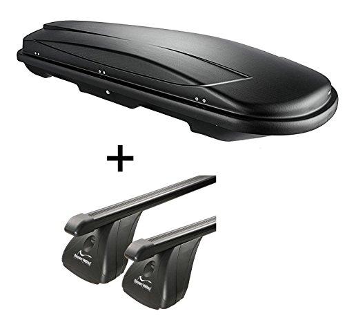 Dachbox VDPJUXT600 600Ltr abschließbar + Stahl Dachträger Aurilis Original kompatibel mit Volvo V50 (5Türer) 2004-2012