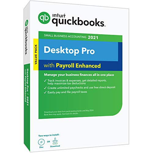 Intuit QuickBooks Desktop Pro with Enhanced Payroll 2021 Accounting Software for Small Business with Shortcut Guide [PC Disc]