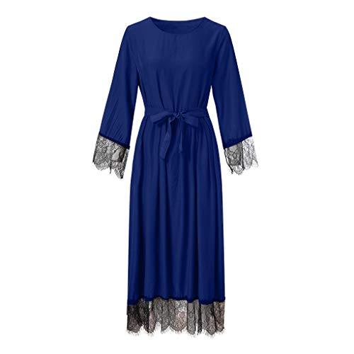 REALIKE Muslimische Damen Spitze Patchwork Langarm Kleid Mit Gürtel Tunika Abaya Dubai Kleider Maxikleid Abendkleid Muslim Frauen Knöchellang Kleid Hochzeit Kaftan Robe Gewand Islamische Kleidung
