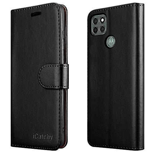 iCatchy For Motorola Moto G9 Power Case Leather Wallet Book Flip Folio Stand View Cover Pouch for Moto G9 Power Phone (Black)