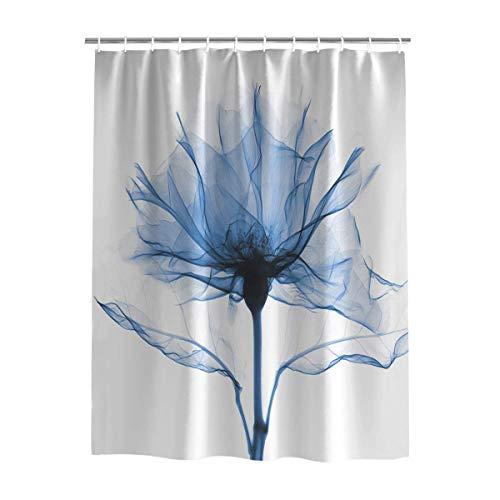 JOOCAR Duschvorhang mit 12 Haken, dekorativ, romantischer blauer Röntgen-Blumendruck, wasserdichter Polyesterstoff, 152,4 x 182,9 cm
