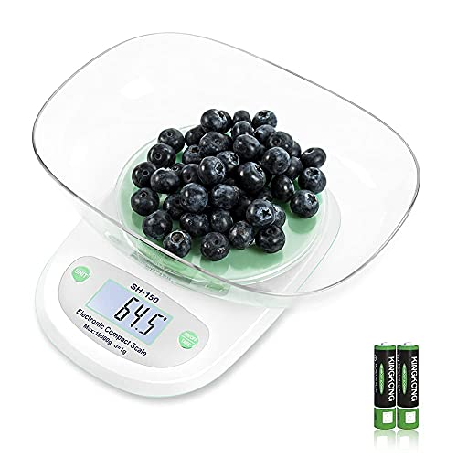 Kitchen Scales Digital Weight , 22 lbg and oz Multifunctional Cooking and Baking Measurement, 1g/0.1oz Precision Scale, with Plastic Bowl (Blue)